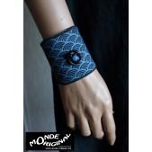 Bracelet manchon bleu II fleur japonaise en tissu japonais et cuir
