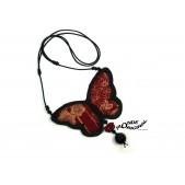 Collier papillon en tissu japonais rouge