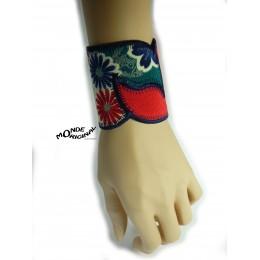 Bracelet manchette HARMONIE en tissu chirimen japonais rouge multicolore
