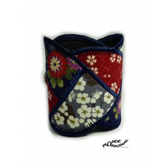 Bracelet manchon tresse en tissus liberty, japonais et cuir rouge gris bleu,bracelet patchwork,bijou textile
