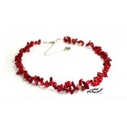 Collier ras de cou en corail, collier rouge, collier en corail