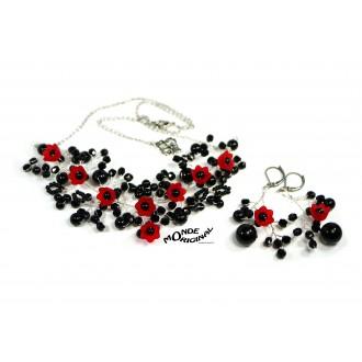 Parure de soirée noir rouge, collier soirée noir, collier délicat, parure branches fleuries,parure soirée noire