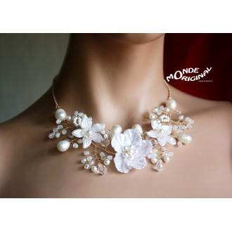 Collier de mariée, Parure de mariage en perles d'eau douce, Collier mariage, collier artisanal de mariée, parure soirée blanche