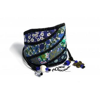 Bracelet manchette vagues en tissu,manchette en tissu,bracelet textile,bijou textile