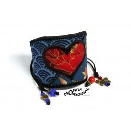 Bracelet manchette LOVE en tissus japonais cuir,manchette en tissu,bracelet textile,bijou textile,manchette textile,patchwork